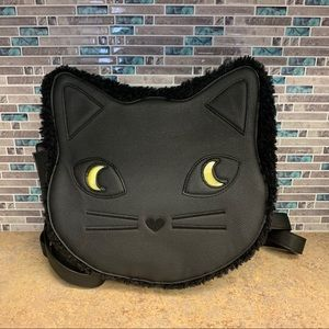 Light up eye furry cat backpack